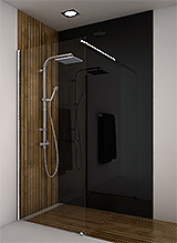 shower screen WI niche 1 fixed square stiffener anodised aluminium PSS effect