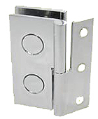 hinges with wall plate for LH brace, 60 x 30 mm, opening 9 mm, for glass 1.20 x 0.50, chromed brass