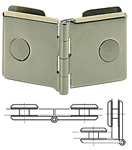 hinges, double, 40 x 40 mm for 2 (1.20 x 1.60) 90° or 180° volumes, from 6 to 8 mm, chromium plated brass
