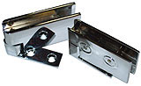 hinges for notched and drilled glass, chromed brass