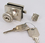 lock with handle, different key numbers, matt chromed