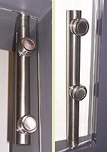 Upper and lower hinge set Ø 25, brushed stainless steel tube adlock